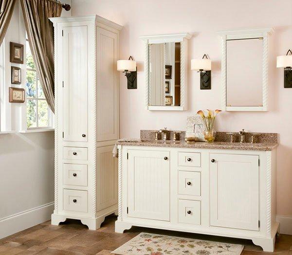 white tall cabinet bathroom