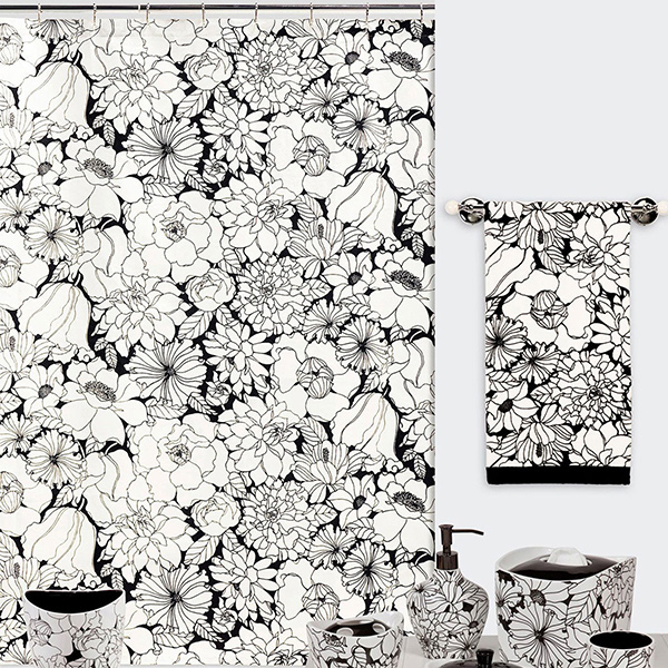 Creative Bath Black & White Fabric Shower Curtain