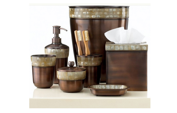 Brown mosaic bathroom accessories home design plan for Mosaic bathroom set