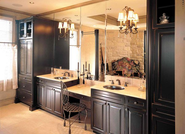 Dark wood vanity cabinets