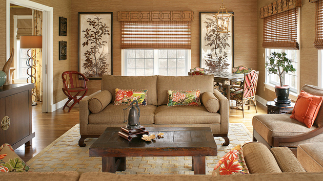 wallpaper to match brown leather sofa