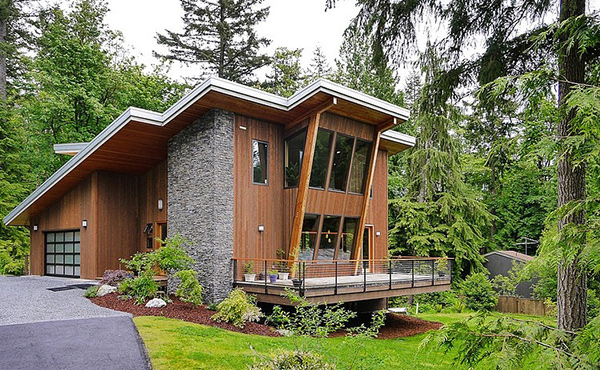Wood Mountain Elevation : Issaquah house in squak mountain with modern cottage