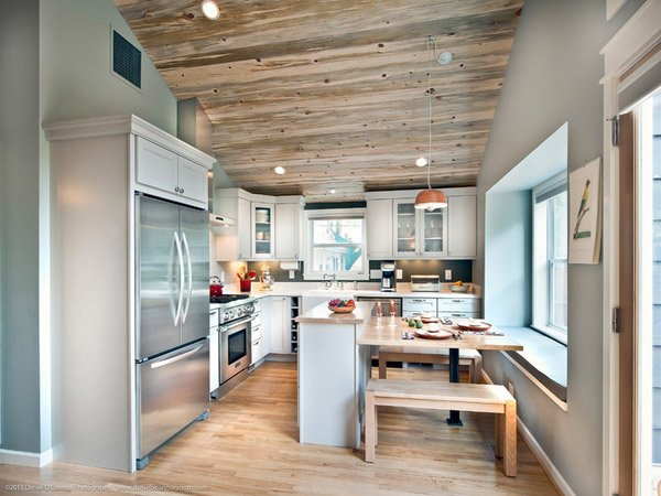 15 lovely built in kitchen tables home design lover for Cabin renovation ideas