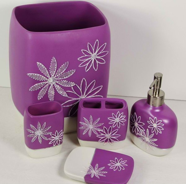 PC Bathroom Accessory Set Turquoise Lime Green Purple Daisy Stitch