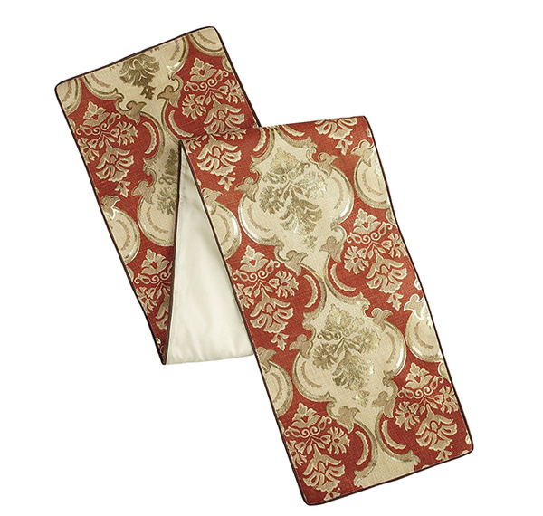 Damask Print Table Runner - Rust