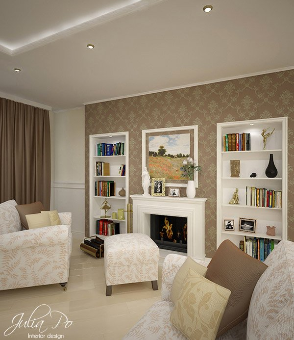 Beige printed walls