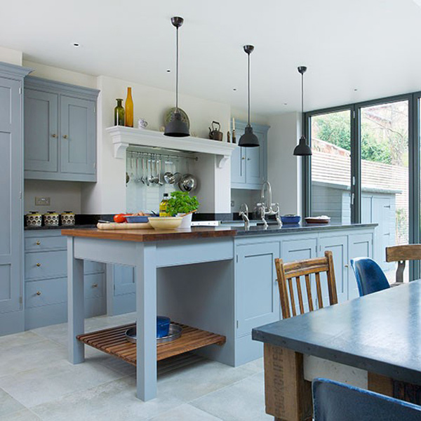 Grey Kitchen Cabinets With Blue Island 16 nicely painted kitchen cabinets | home design lover