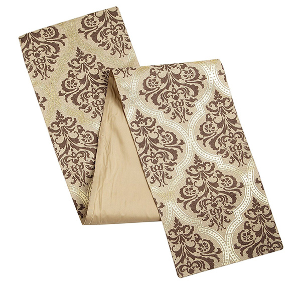 Metallic Damask Jute Table Runner