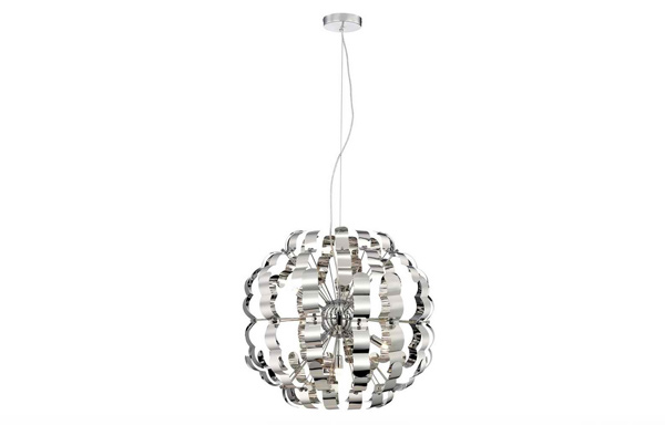 Wide Modern Chrome Pendant Light