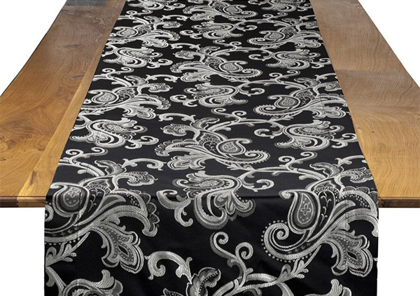 Black Orleans Damask Table Runner