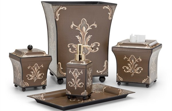 Julia Chocolate Metal Tole Bath Accessories