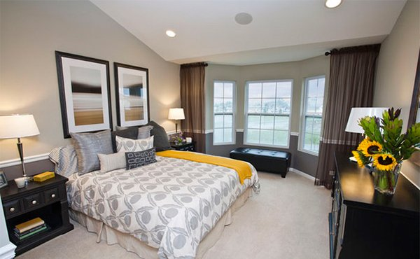 Peaceful Yellow Gray Bedroom