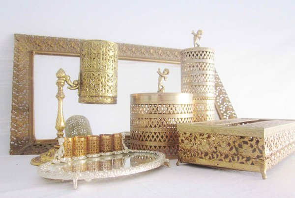 Mid Century Vanity Set Gilt Gold