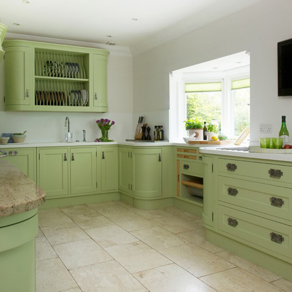 Pale Grey Kitchen Cabinets With Green White Walls