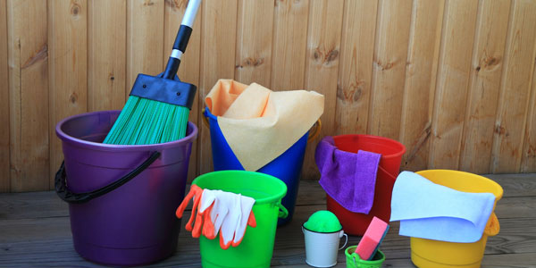 Set aside cleaning materials