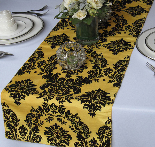 Victorian Yellow and Black Flocked Damask Taffeta Table Runner