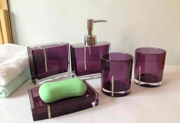 purple glass bathroom accessories. Bath Accessories Acrylic 15 Elegant Purple Bathroom  Home Design Lover