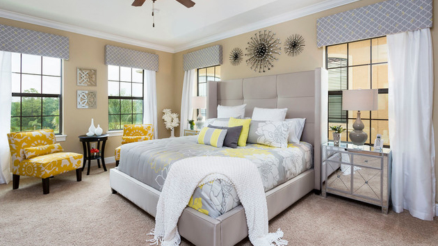 15 Visually Pleasant Yellow and Grey Bedroom Designs | Home Design ...