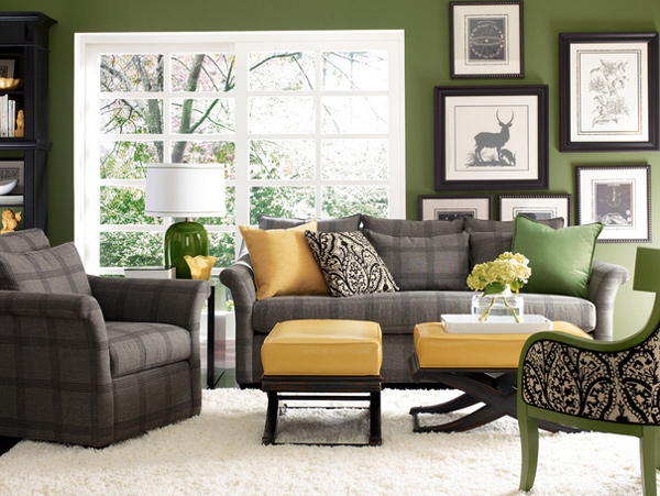 15 Lovely Grey and Green Living Rooms | Home Design Lover