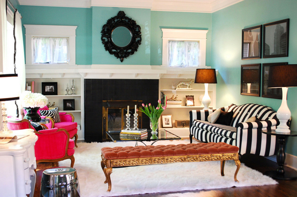 Antique and Modern with a Turquoise Wall - Interiors By Color