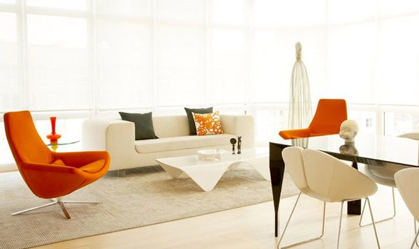 15 Luscious Orange and White Living Rooms | Home Design Lover