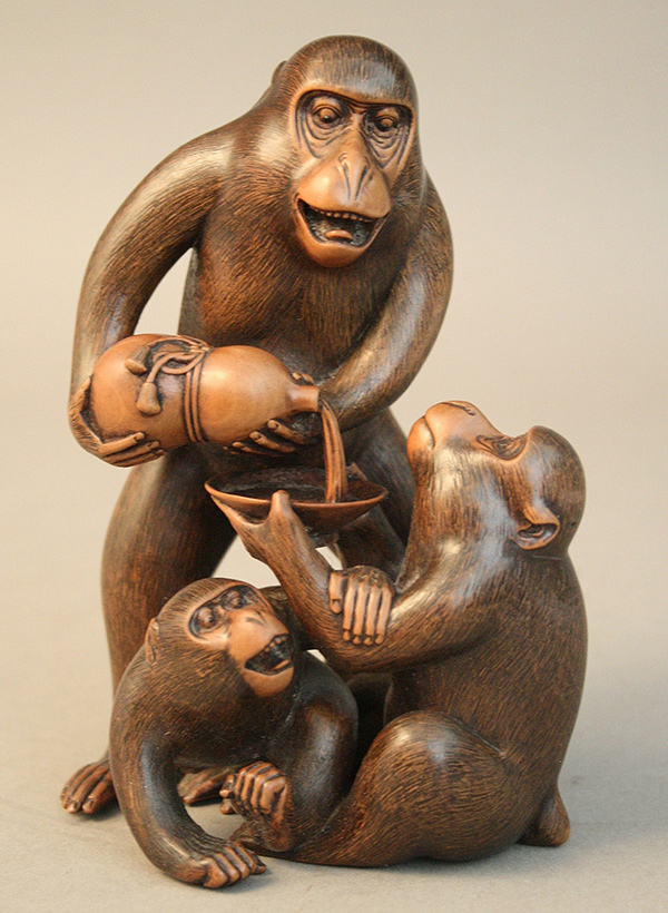 Japanese Wood Carving of Monkey Group