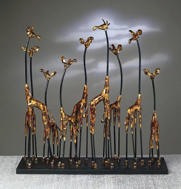 Giraffe Family Bronze Iron Sculpture