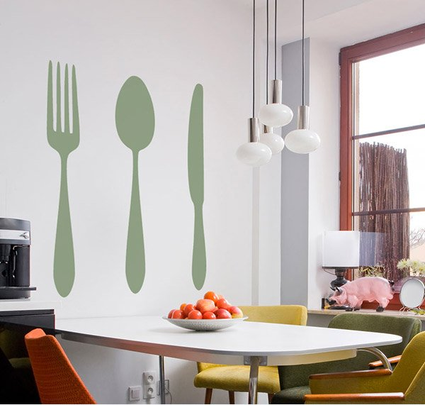 Dining Cutlery Silhouette Set Wall Art