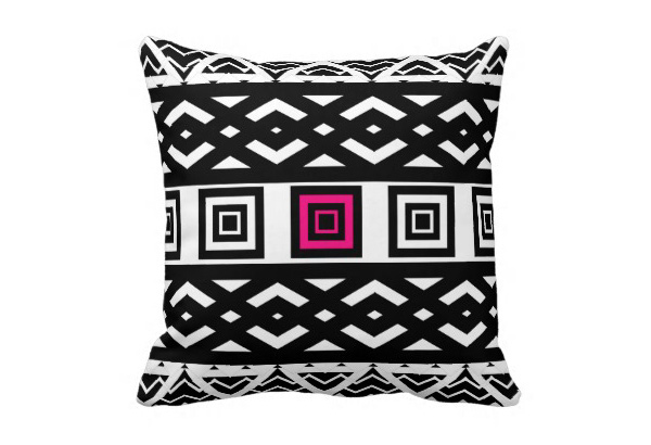 Abstract Geometric Pattern Pink Throw Pillow