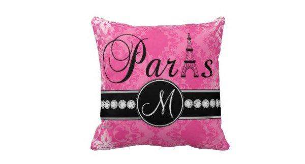 Black Parisian Monogram Pillow