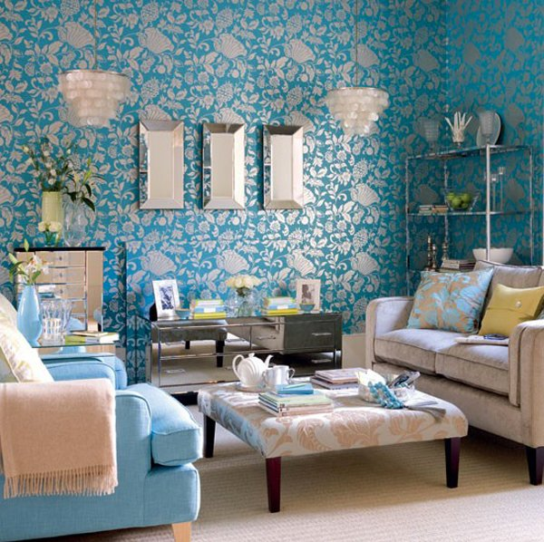15 interesting combination of brown and blue living rooms for Brown wallpaper ideas for living room