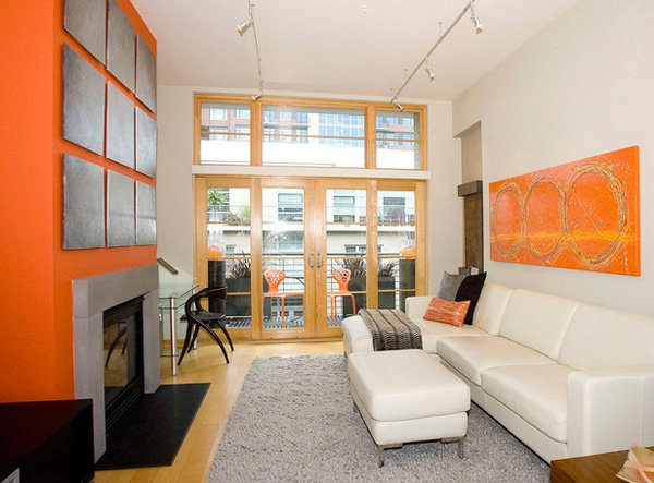 15 luscious orange and white living rooms home design lover for Grey and orange living room ideas