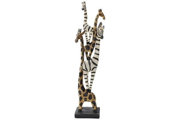 Zebra and Giraffe Totem decoration