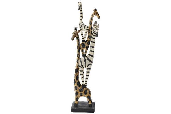 Zebra and Giraffe Totem decoration