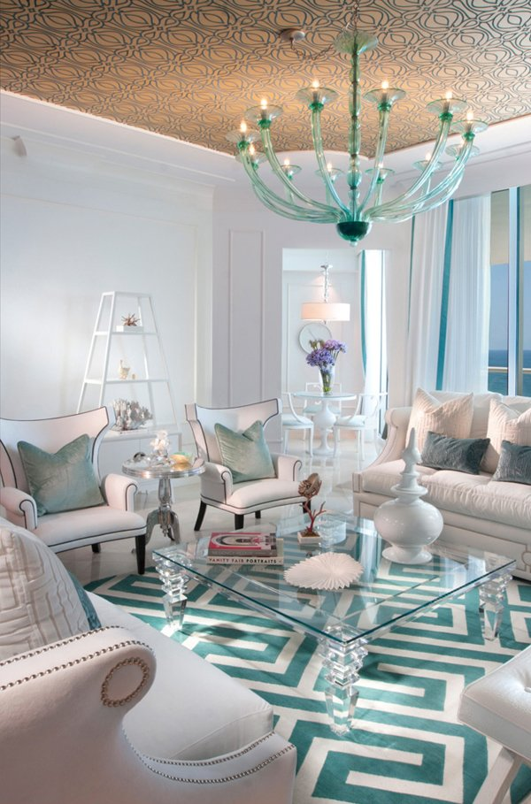 Great Chic Turquoise Modern Living Room