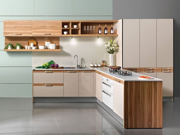 15 beautiful l shaped kitchens home design lover for Modular kitchen cupboard