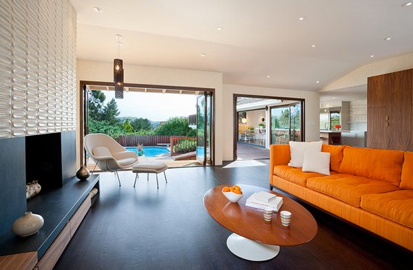 orange white living rooms