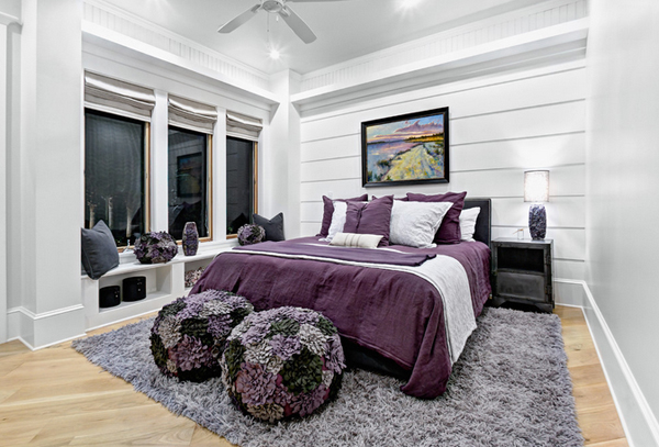 Black, White And Purple Bedrooms