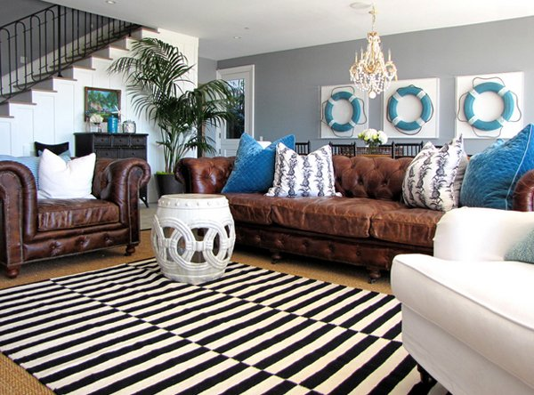 Brown Blue Living Room. Black White Rug Brown Blue Living Room S