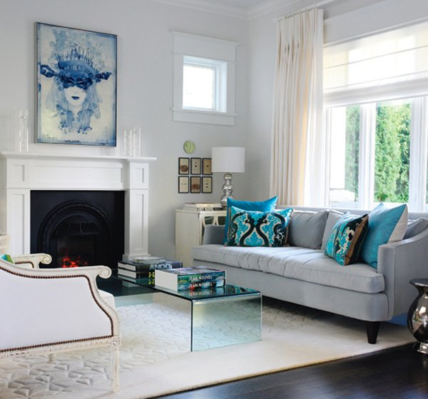 15 scrumptious turquoise living room ideas home design lover for Turquoise and white living room ideas