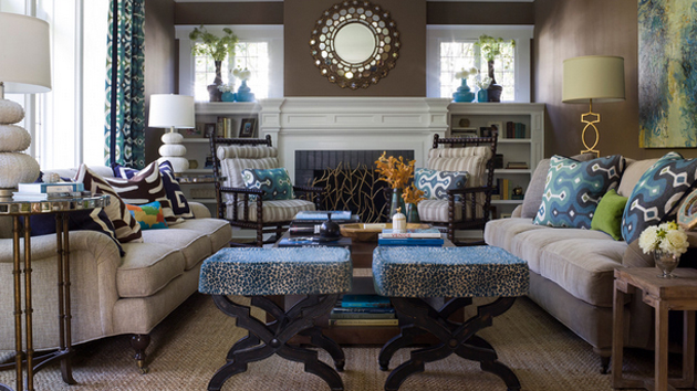 15 Interesting Combination of Brown and Blue Living Rooms | Home ...