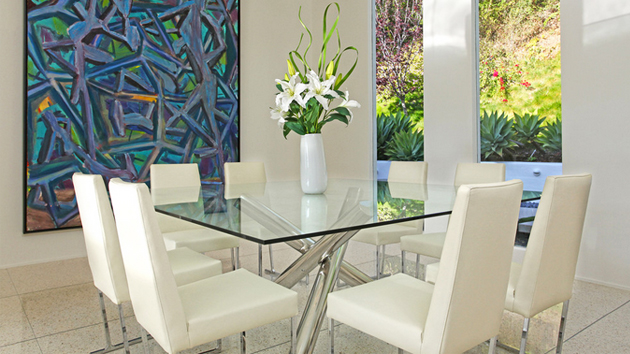 Glass Dining Room Tables 15 shimmering square glass dining room tables | home design lover