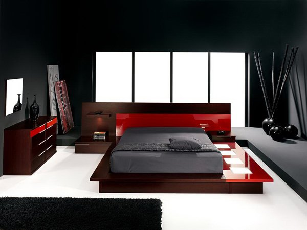 Modern Platform & 15 Pleasant Black White and Red Bedroom Ideas | Home Design Lover