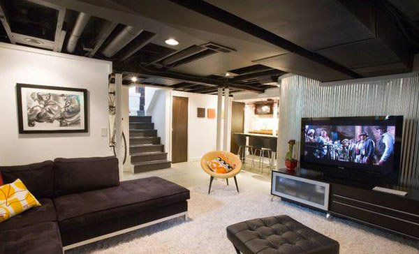 Living Room Basement Designs