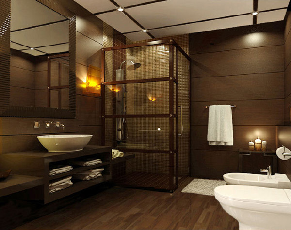 Wooden and glass Bathroom