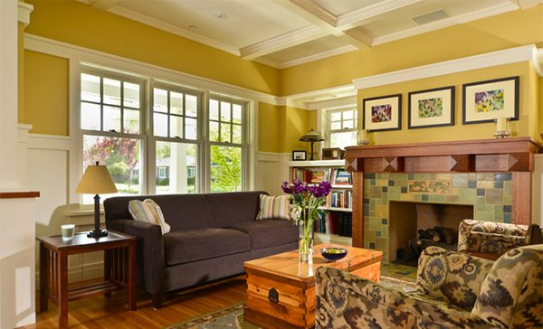 15 warm craftsman living room designs home design lover for Craftsman style living room furniture