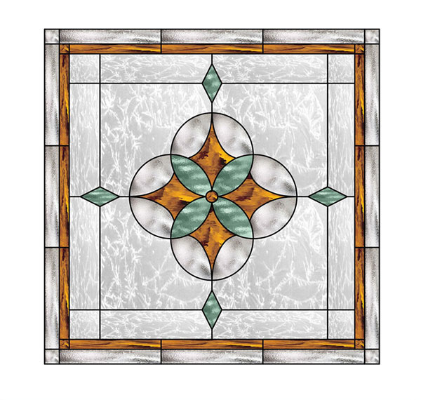 Geometric Star Stained Glass Window