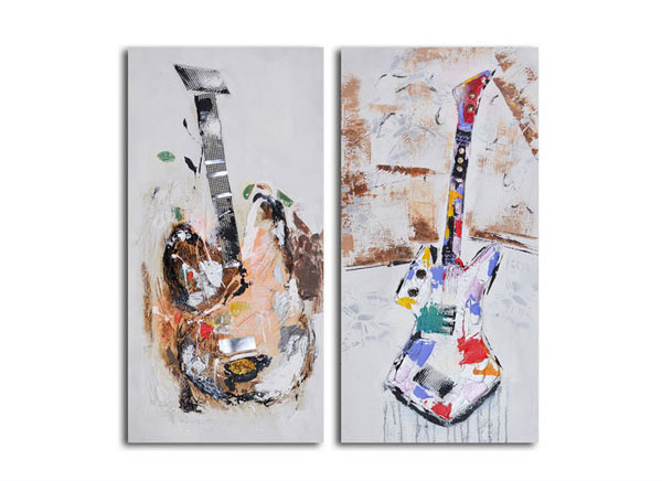 Papier-Mâché Guitar Couplet Hand-Painted