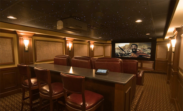 15 Interesting Media Rooms and Theaters With Bars Home  : 11 transitional from homedesignlover.com size 600 x 395 jpeg 105kB