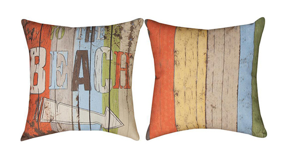 Pair of `To the Beach` Climaweave 18 Inch Indoor / Outdoor Throw Pillows